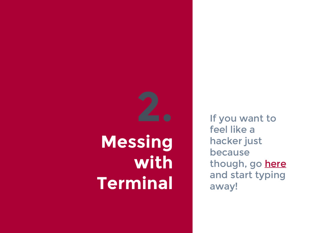 2. Messing with Terminal If you want to feel li...