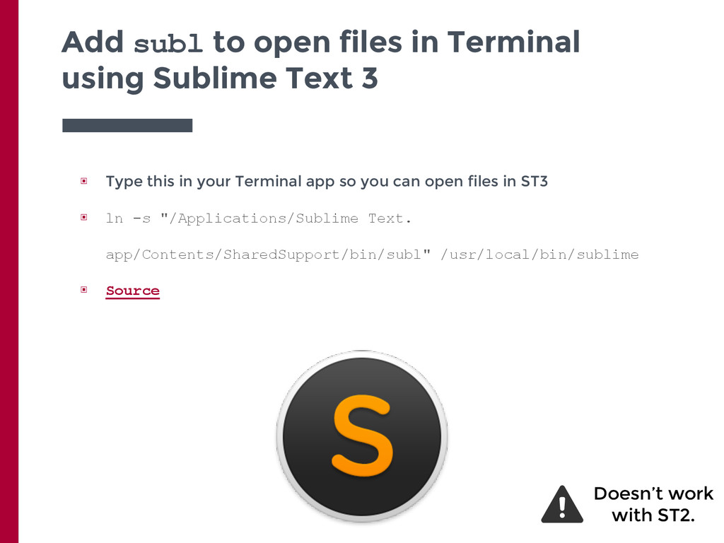 Add subl to open files in Terminal using Sublim...
