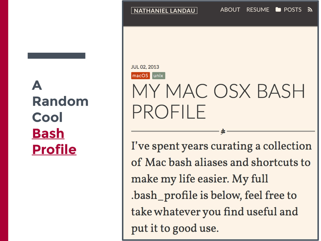 A Random Cool Bash Profile
