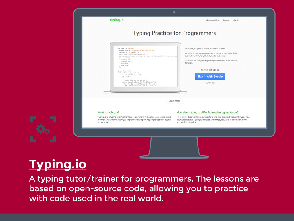 Typing.io A typing tutor/trainer for programmer...
