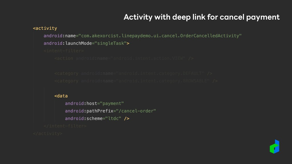 Activity with deep link for cancel payment