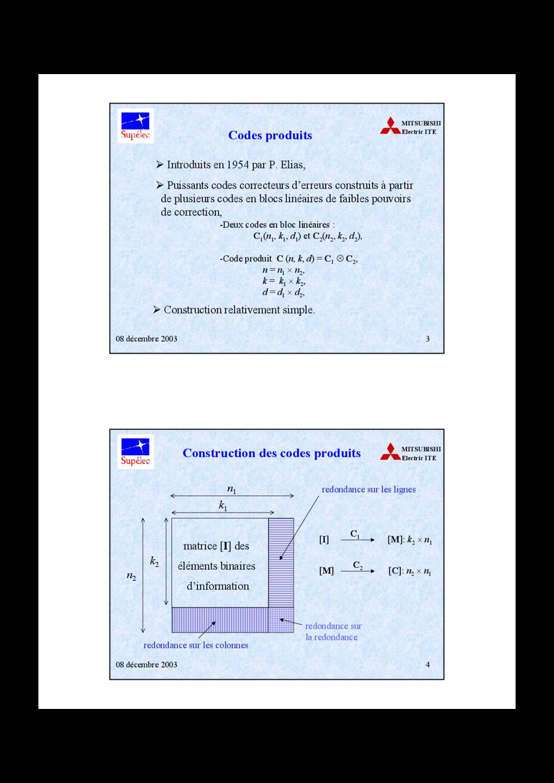 08 décembre 2003 3 MITSUBISHI Electric ITE Code...