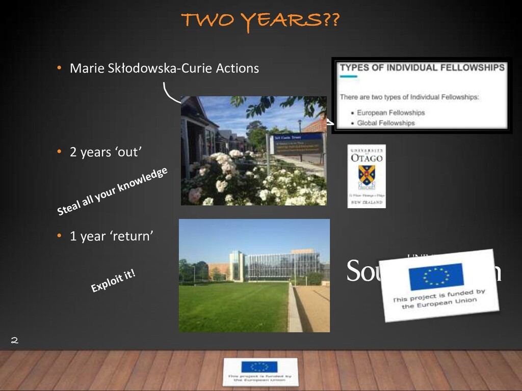 TWO YEARS?? • Marie Skłodowska-Curie Actions • ...