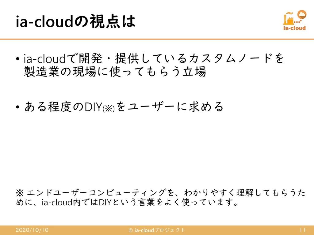 • ia-cloudで開発・提供しているカスタムノードを 製造業の現場に使ってもらう立場 • ...