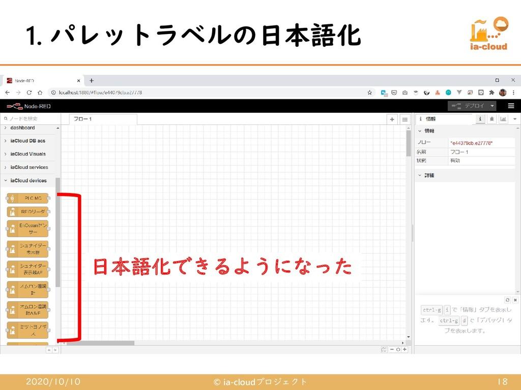 1. パレットラベルの日本語化 2020/10/10 © ia-cloudプロジェクト 18 ...