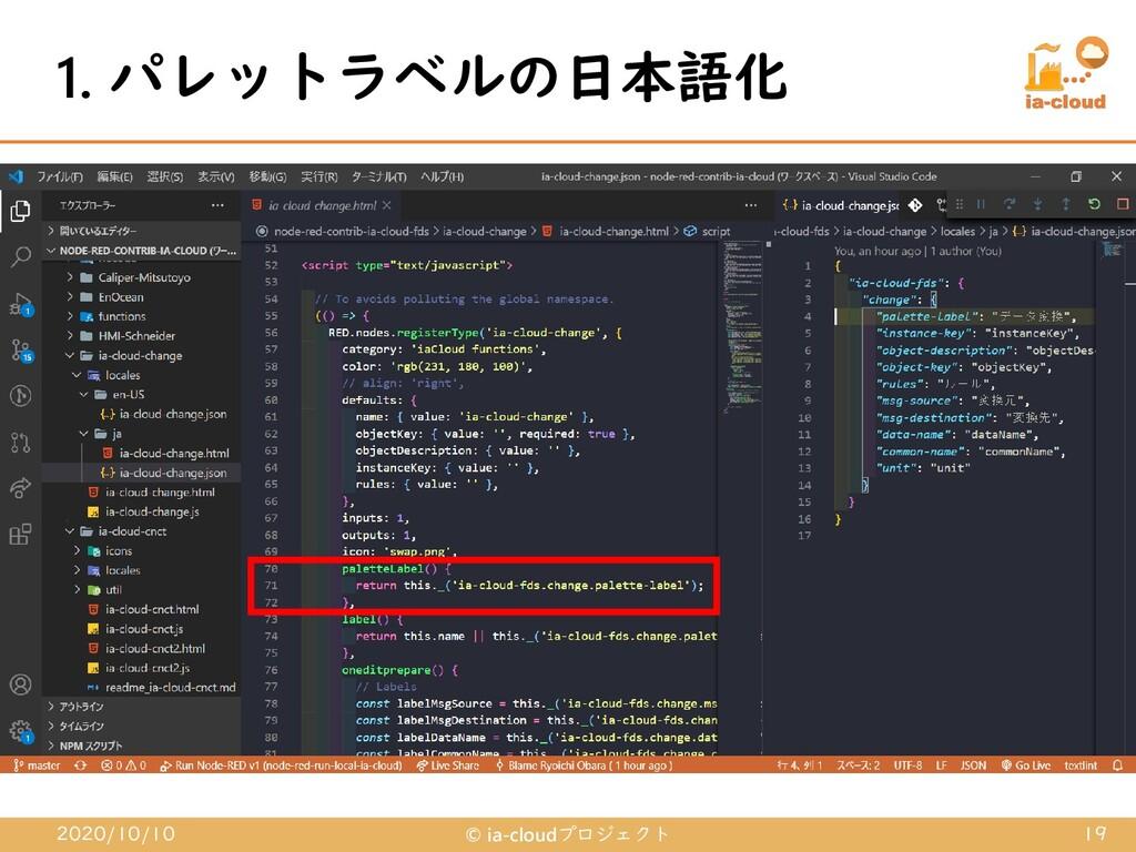 1. パレットラベルの日本語化 2020/10/10 © ia-cloudプロジェクト 19
