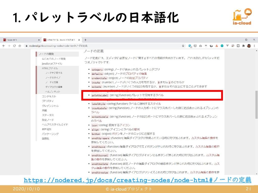 1. パレットラベルの日本語化 2020/10/10 © ia-cloudプロジェクト 21 ...
