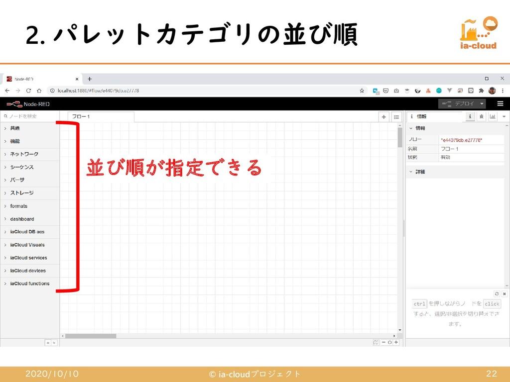 2. パレットカテゴリの並び順 2020/10/10 © ia-cloudプロジェクト 22 ...
