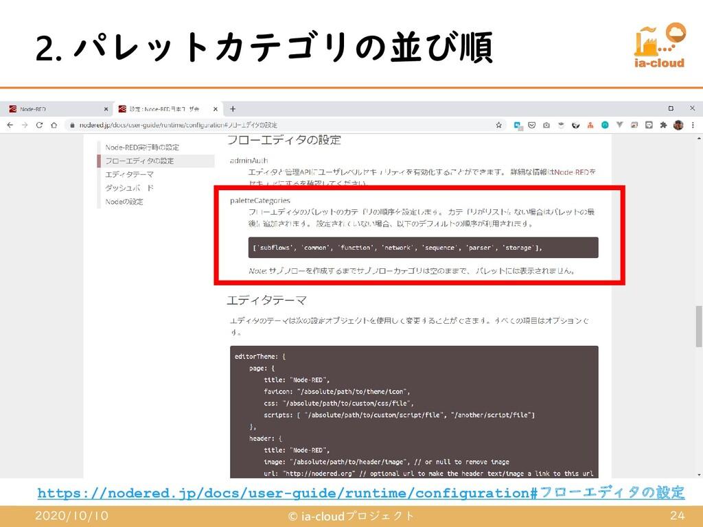 2. パレットカテゴリの並び順 2020/10/10 © ia-cloudプロジェクト 24 ...