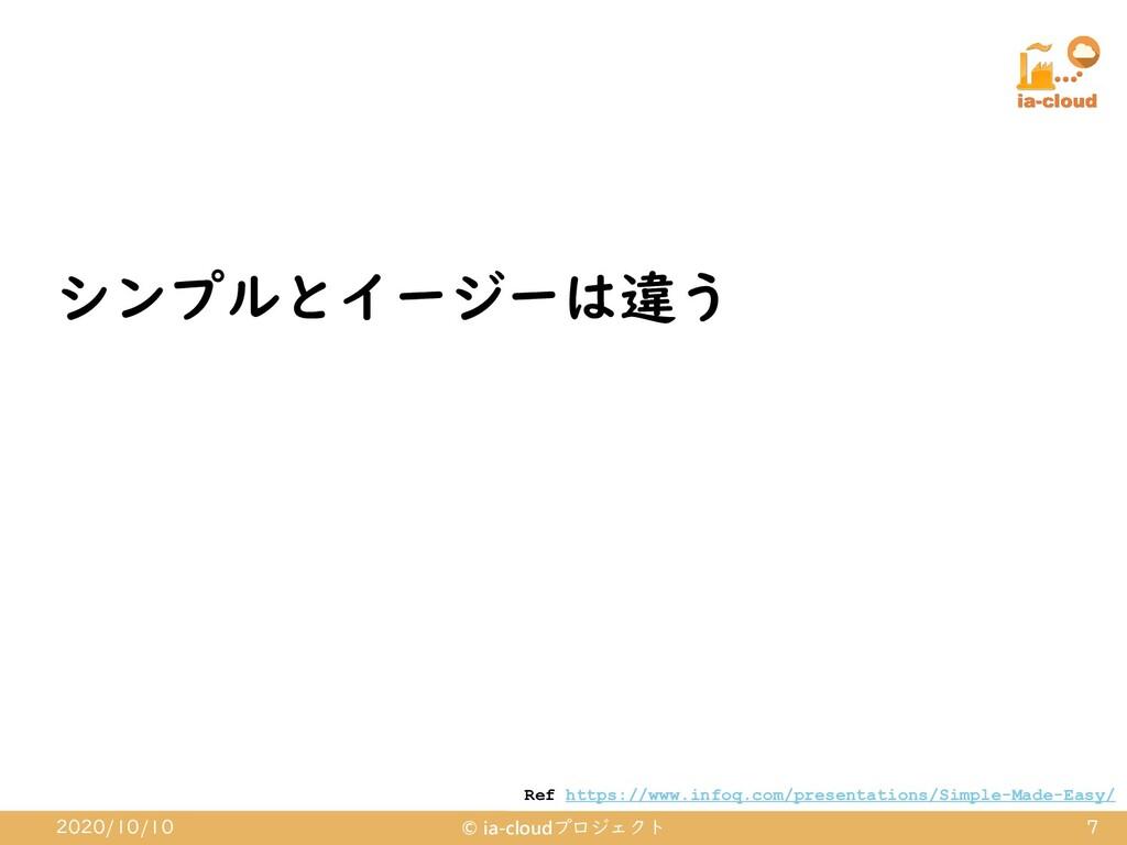 シンプルとイージーは違う 2020/10/10 © ia-cloudプロジェクト 7 Ref ...