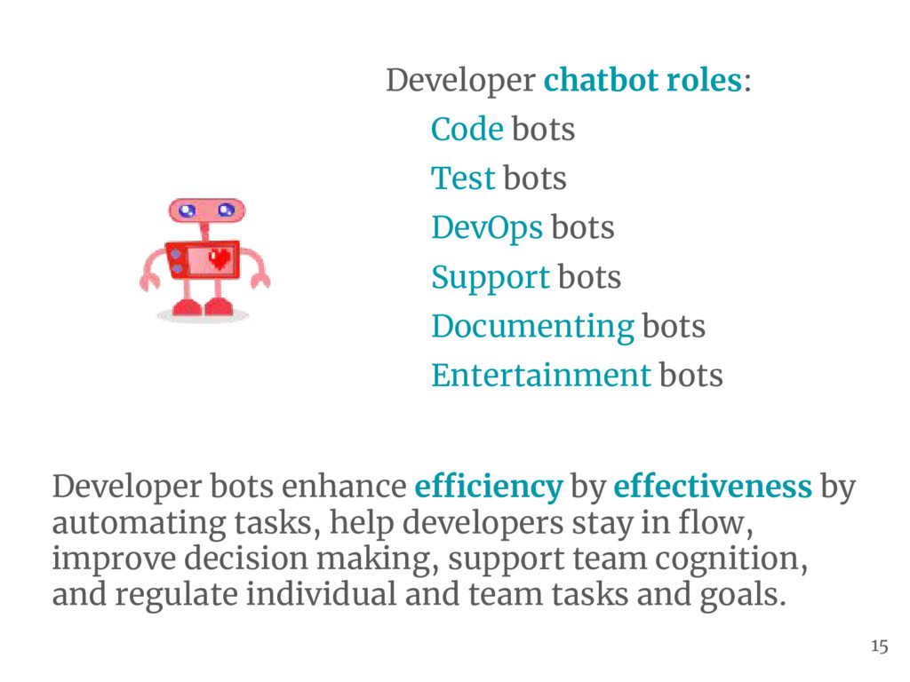 Developer chatbot roles: Code bots Test bots De...