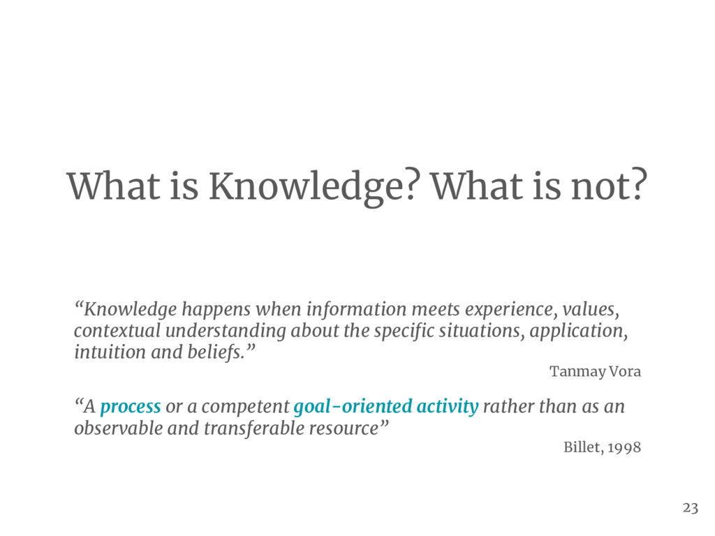 "What is Knowledge? What is not? ""Knowledge happ..."