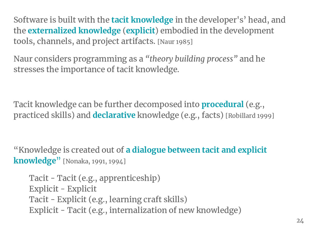 Software is built with the tacit knowledge in t...