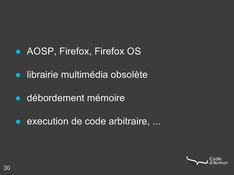 30 ● AOSP, Firefox, Firefox OS ● librairie mult...