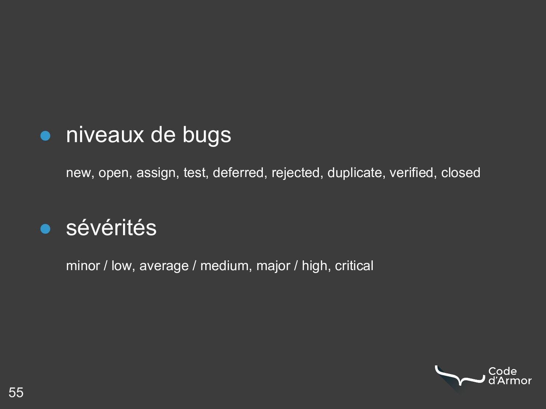 55 ● niveaux de bugs new, open, assign, test, d...
