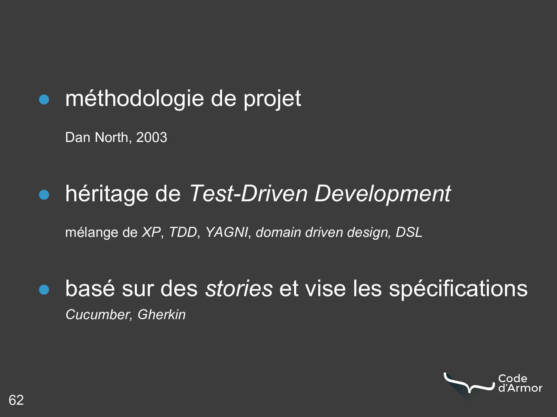 62 ● méthodologie de projet Dan North, 2003 ● h...