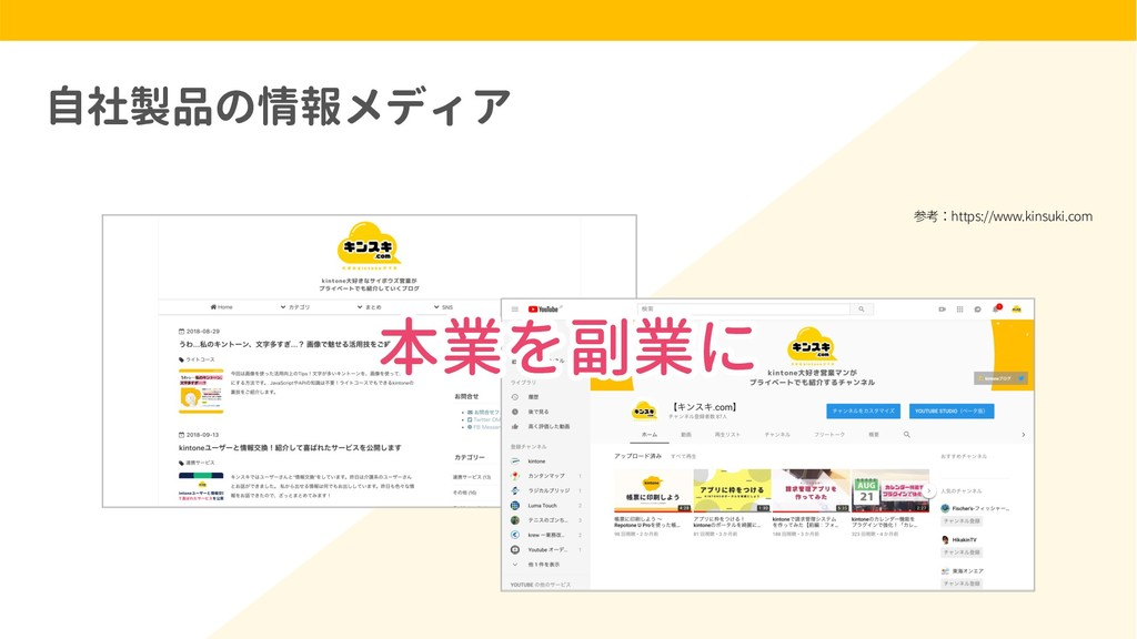 自社製品の情報メディア 本業を副業に 参考:https://www.kinsuki.com