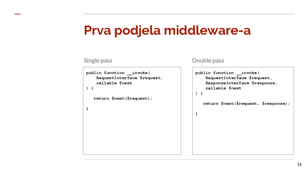 Prva podjela middleware-a Single pass Double pa...