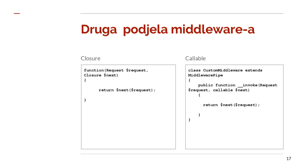 Druga podjela middleware-a Closure Callable fun...