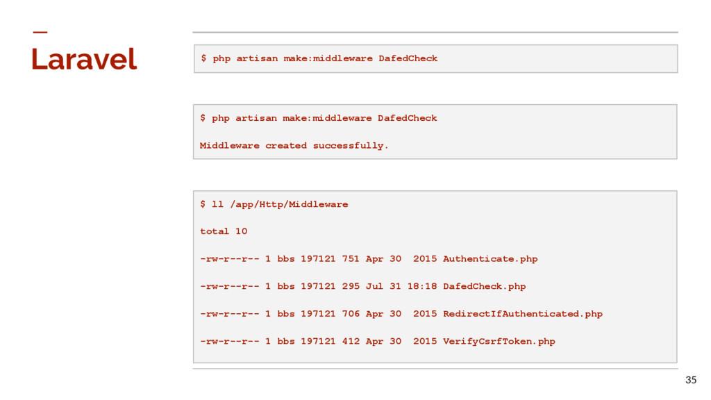 Laravel $ php artisan make:middleware DafedChec...