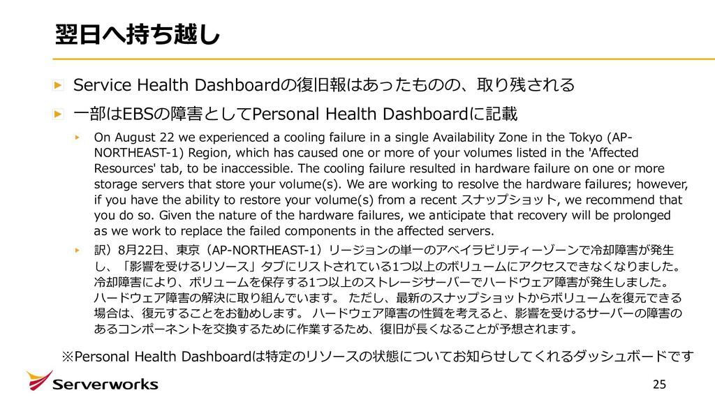 翌⽇へ持ち越し Service Health Dashboardの復旧報はあったものの、取り残...