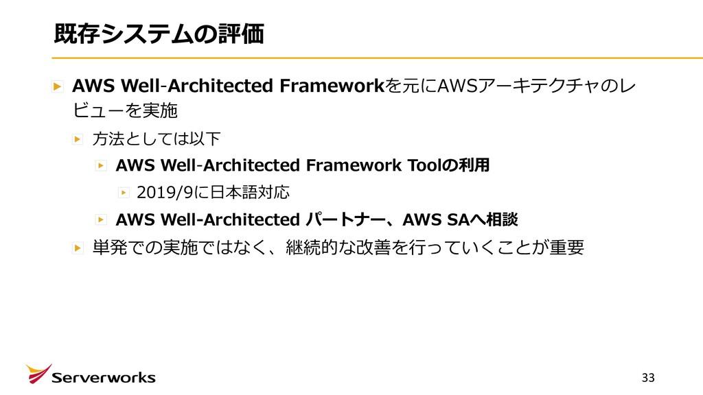 既存システムの評価 AWS Well-Architected Frameworkを元にAWSア...