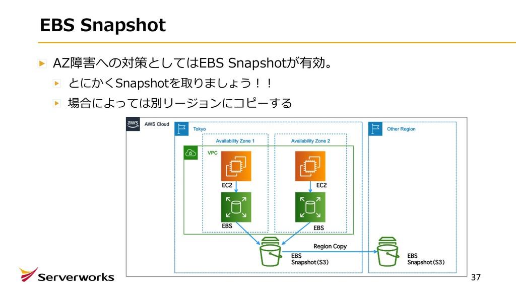 EBS Snapshot AZ障害への対策としてはEBS Snapshotが有効。 とにかくS...