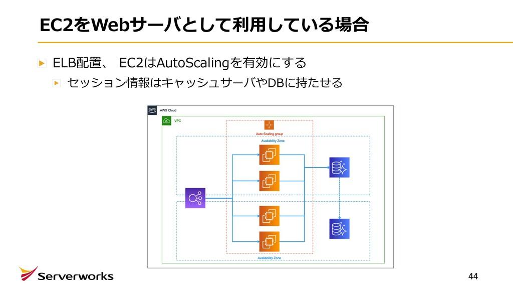 EC2をWebサーバとして利⽤している場合 ELB配置、 EC2はAutoScalingを有効...