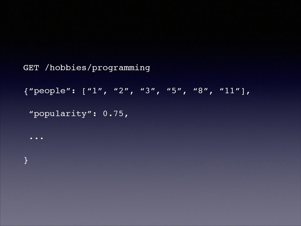 """GET /hobbies/programming! {""""people"""": [""""1"""", """"2"""",..."""