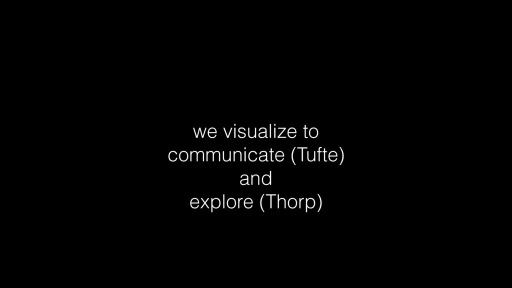 we visualize to communicate (Tufte) and explore...
