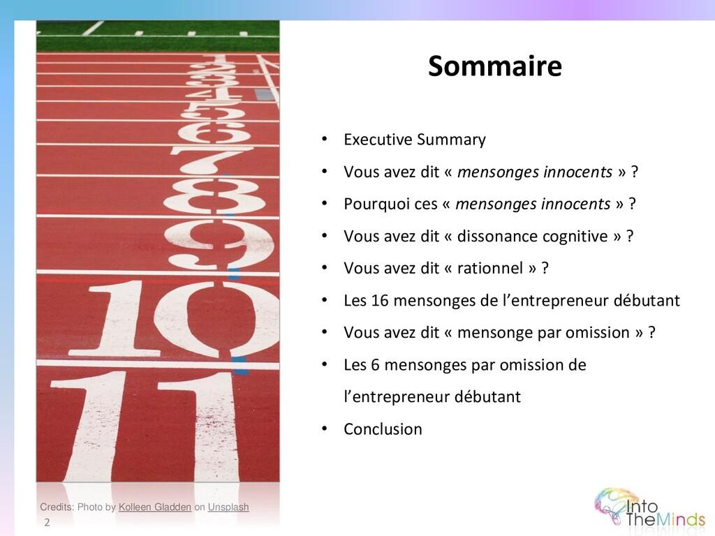 Sommaire 2 • Executive Summary • Vous avez dit ...
