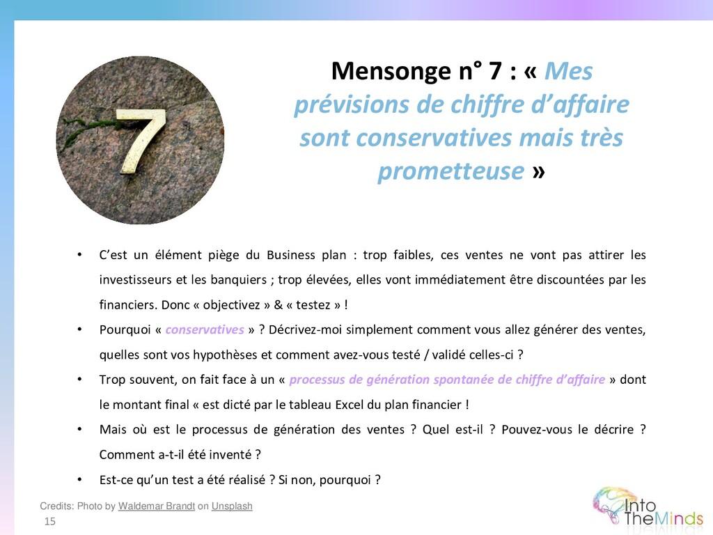 Mensonge n° 7 : « Mes prévisions de chiffre d'a...