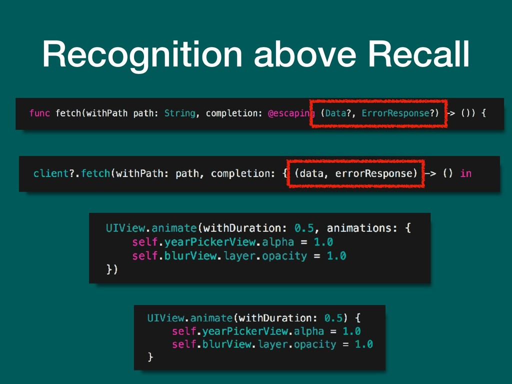 Recognition above Recall