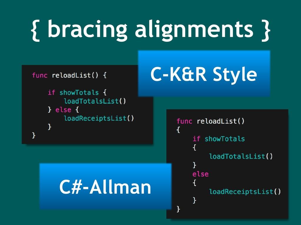 { bracing alignments } C-K&R Style C#-Allman