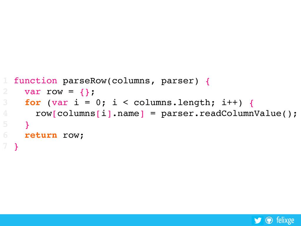 @felixge felixge 1 function parseRow(columns, p...
