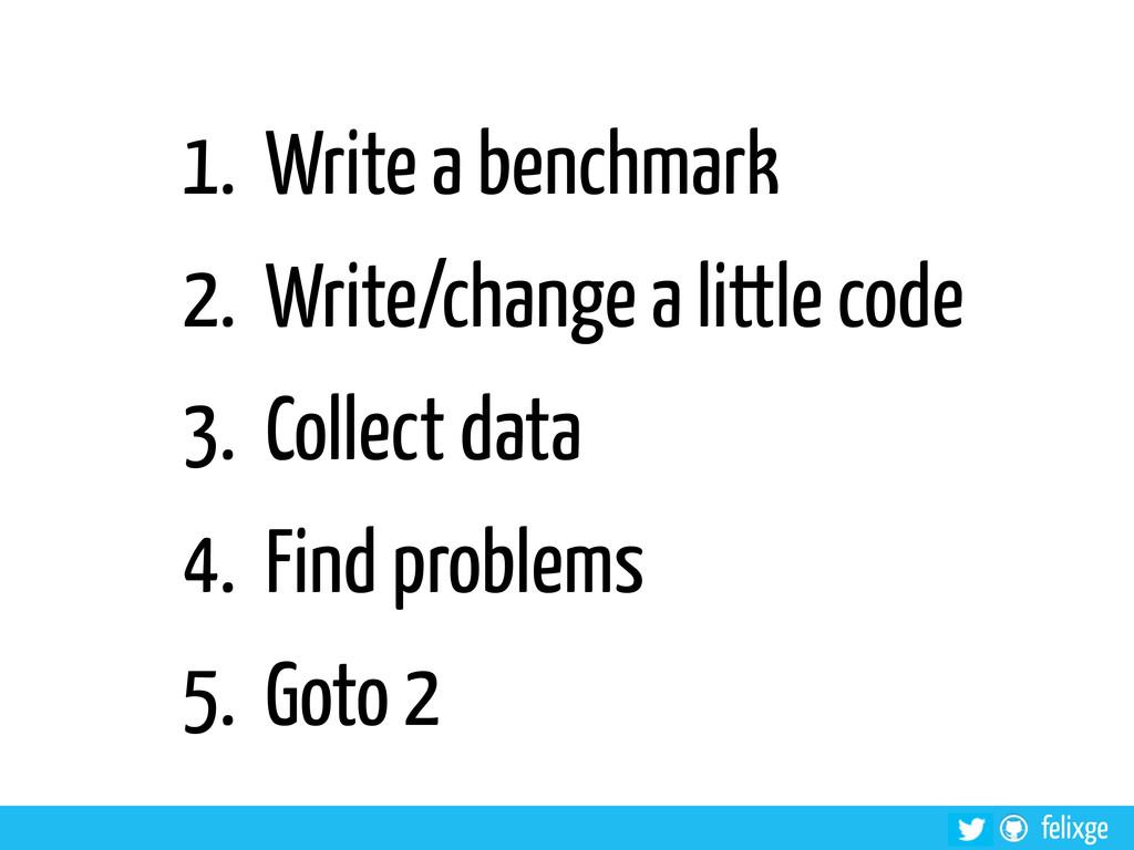 @felixge felixge 1. Write a benchmark 2. Write/...