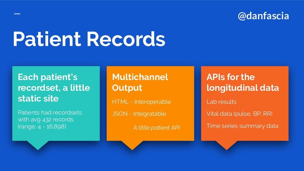 Patient Records APIs for the longitudinal data ...