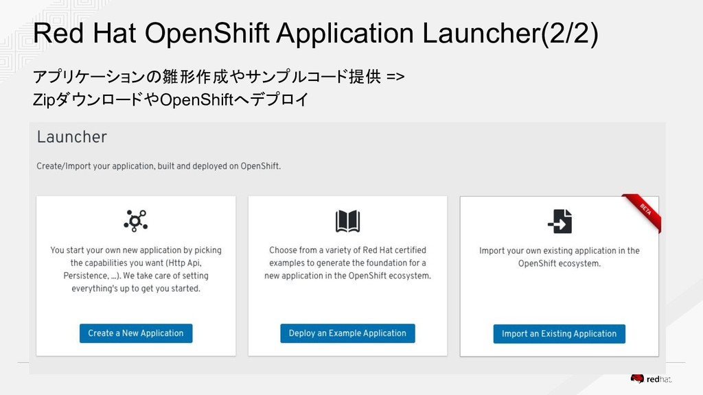 Red Hat OpenShift Application Launcher(2/2) アプリ...