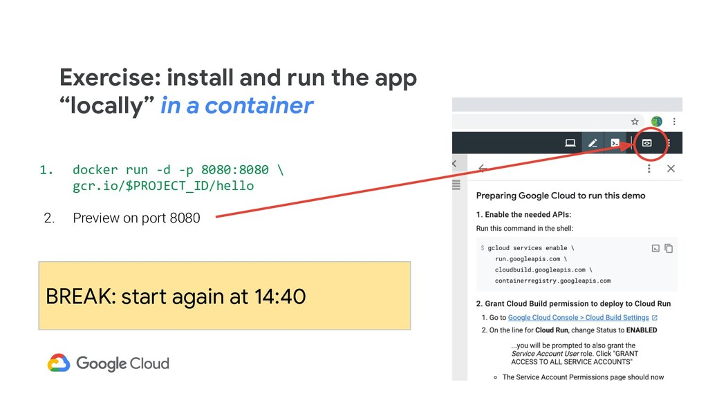 """Exercise: install and run the app """"locally"""" in ..."""