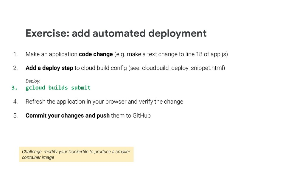 Exercise: add automated deployment 1. Make an a...