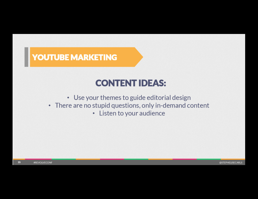 35 YOUTUBE MARKETING 35 CONTENT IDEAS: •  Use y...