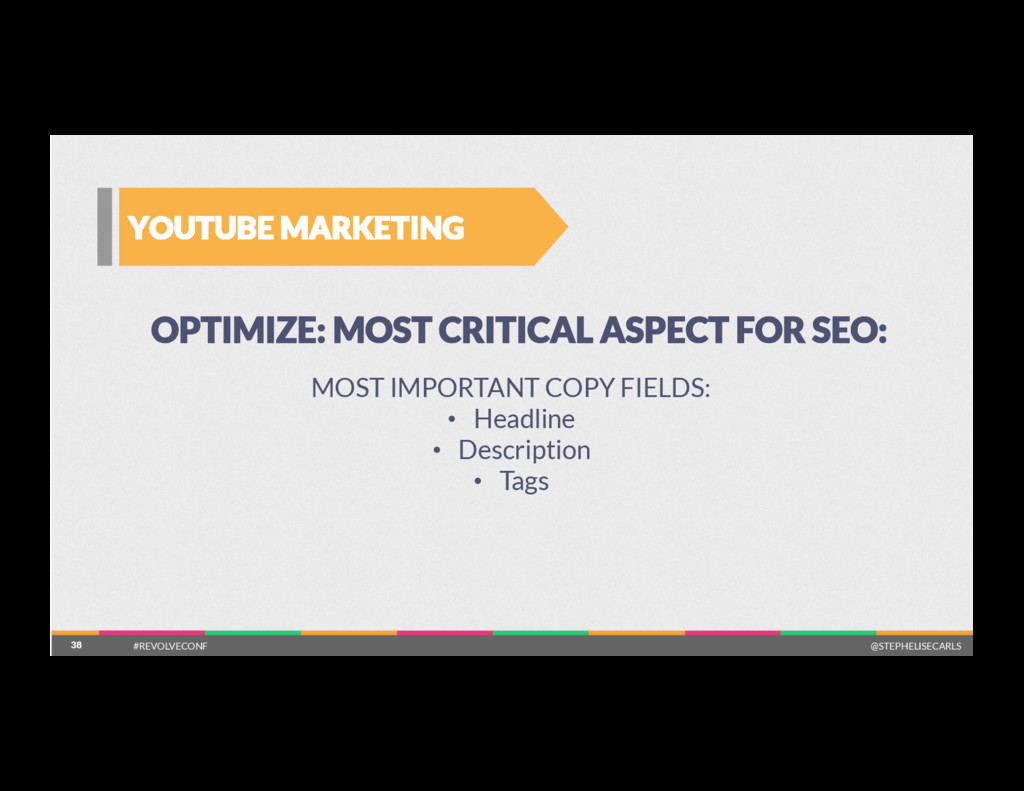 38 YOUTUBE MARKETING 38 OPTIMIZE: MOST CRITICAL...