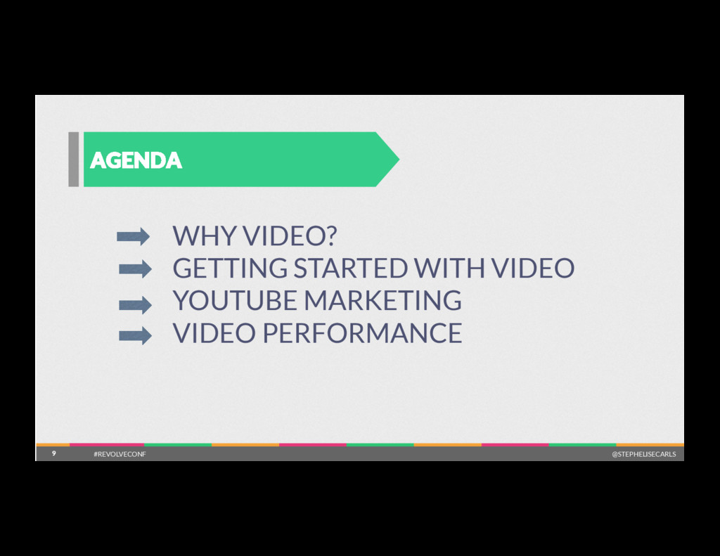 9 AGENDA 9 WHY VIDEO? GETTING STARTED WITH VIDE...