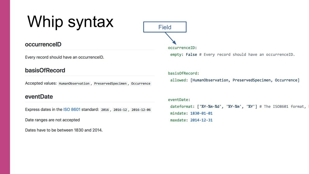 Whip syntax Field