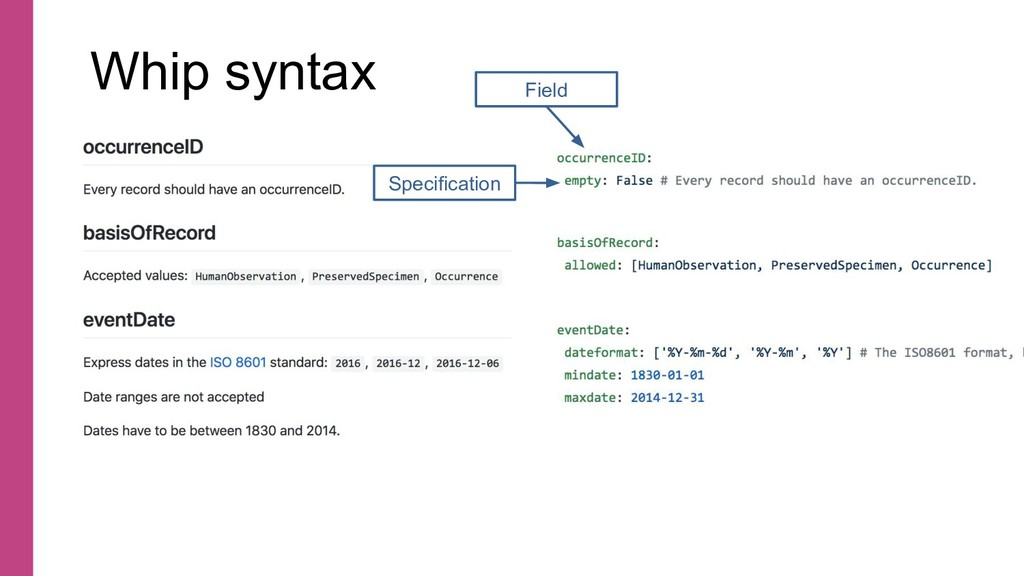 Whip syntax Field Specification