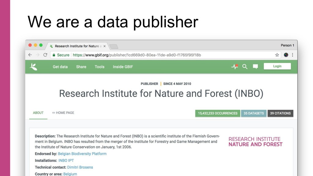 We are a data publisher