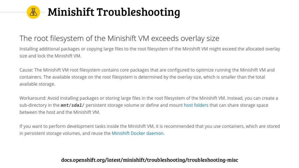 Minishift Troubleshooting docs.openshift.org/la...
