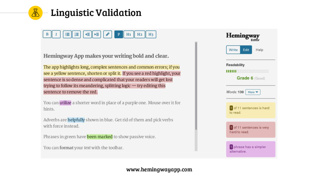 Linguistic Validation www.hemingwayapp.com