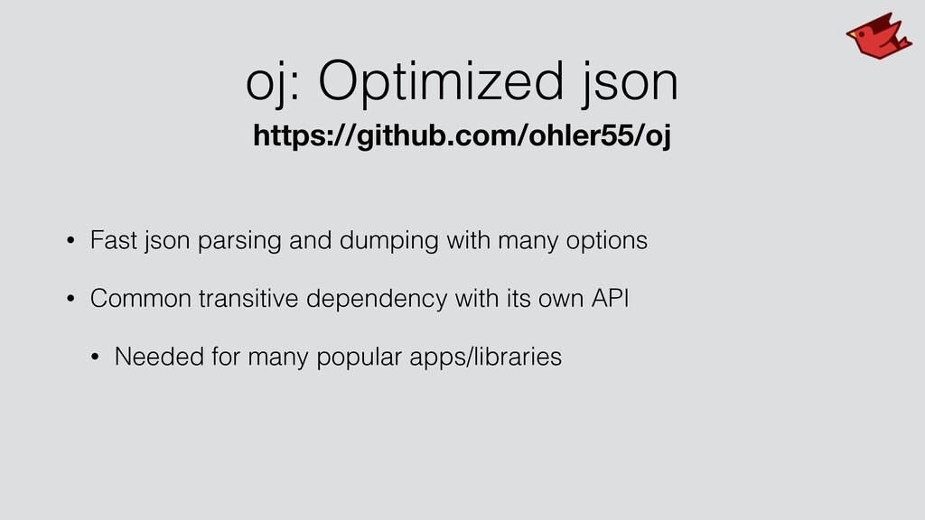 oj: Optimized json • Fast json parsing and dump...