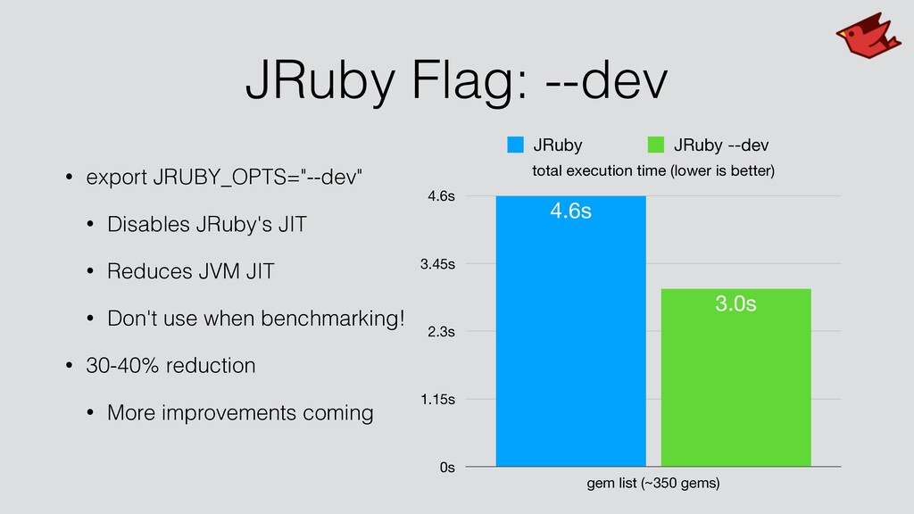 """JRuby Flag: --dev • export JRUBY_OPTS=""""--dev"""" •..."""